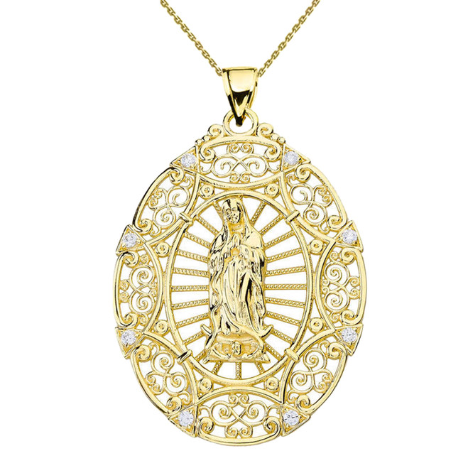 Yellow Gold Diamond Our Lady of Guadalupe Pendant Necklace