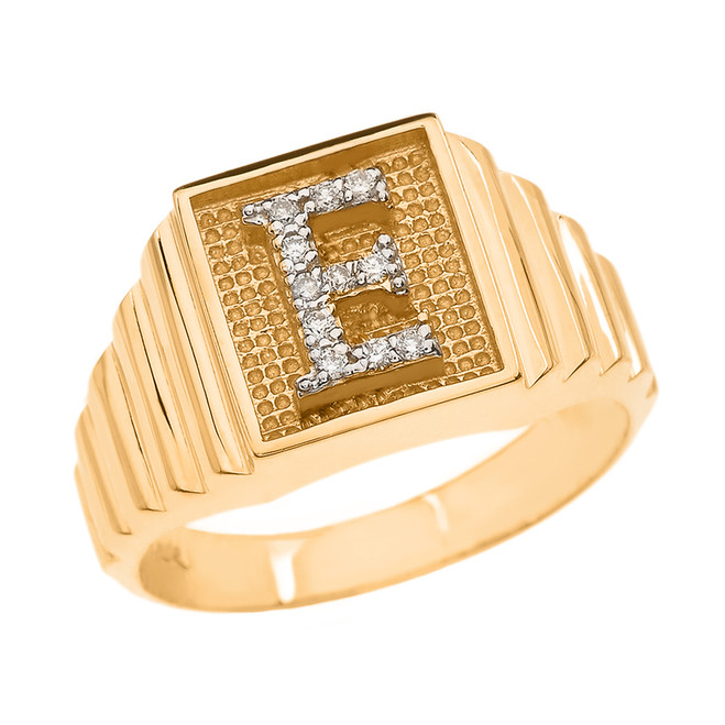 Yellow Gold Diamond Initial E Ring