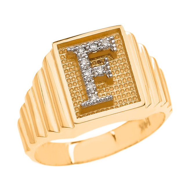Yellow Gold Diamond Initial F Ring