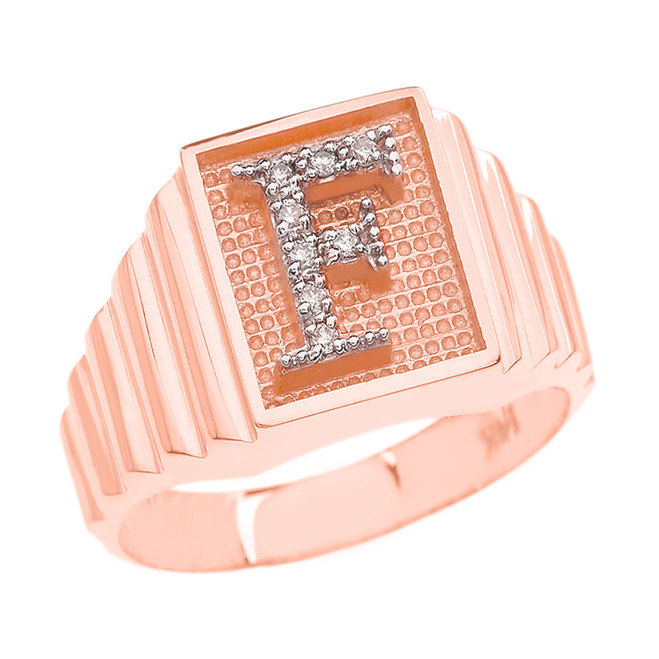 Rose Gold Diamond Initial F Ring