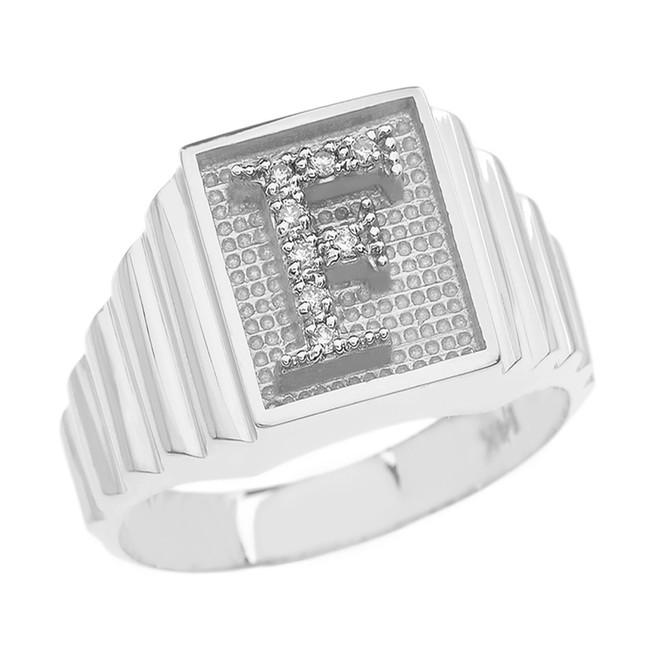 White Gold Diamond Initial F Ring