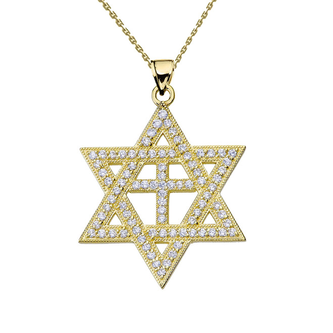 Yellow Gold Diamond Judaeo-Christian Pendant Necklace