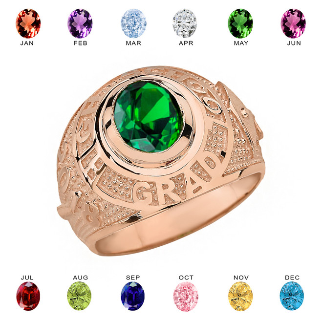 Solid Rose Gold High School Graduation Class of 2018 CZ Birthstone Ring