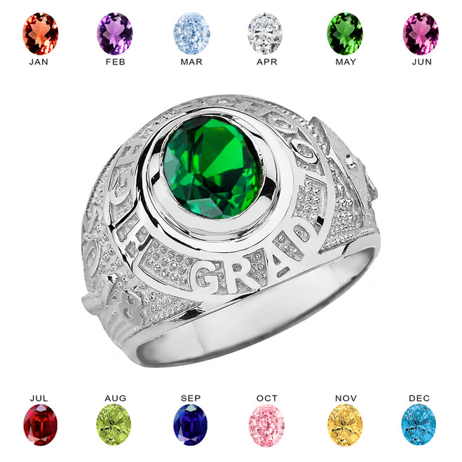 Sterling Silver High School Graduation Class of 2018 CZ Birthstone Ring