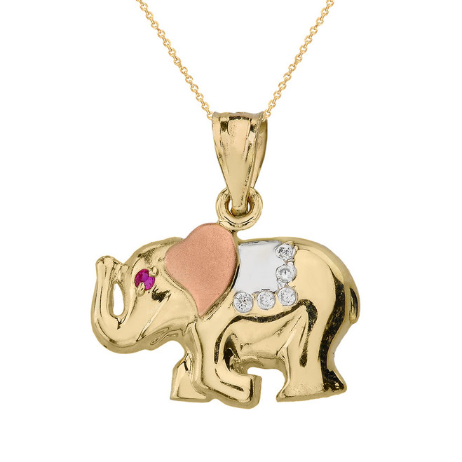 Solid Three Tone Gold Elephant CZ Pendant Necklace