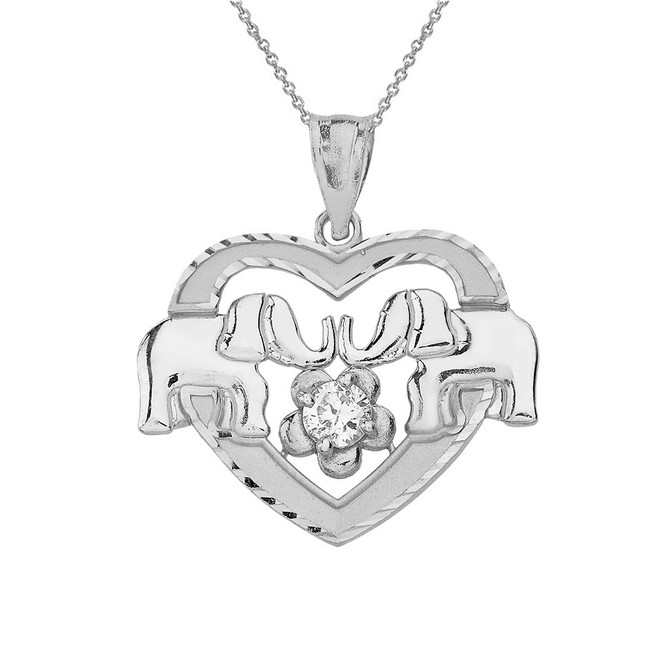 Sterling Silver Elephant and Heart CZ Pendant Necklace