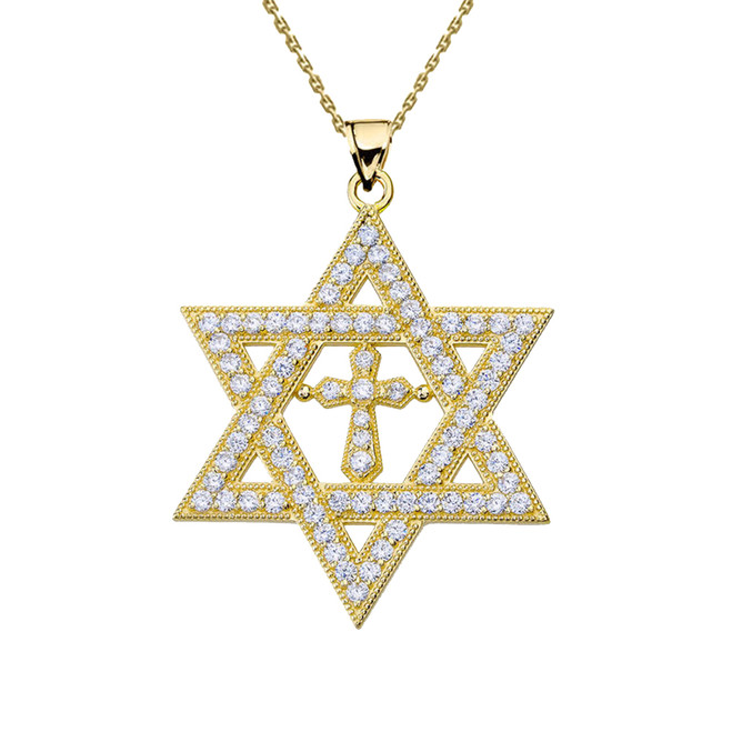 "Yellow Gold Diamond Judaeo-Christian Pendant Necklace ( 1.4"" )"