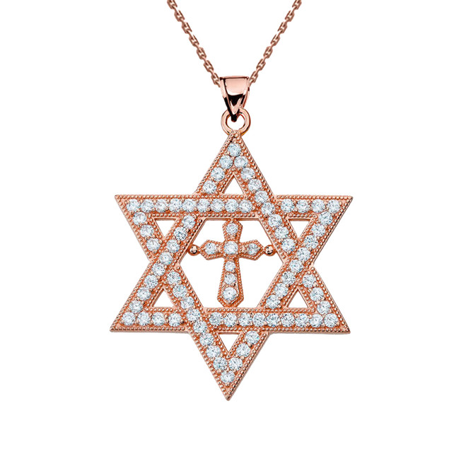 "Rose Gold Diamond Judaeo-Christian Pendant Necklace ( 1.4"" )"
