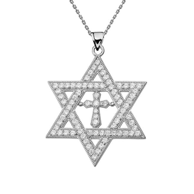 "White Gold Diamond Judaeo-Christian Pendant Necklace ( 1.4"" )"