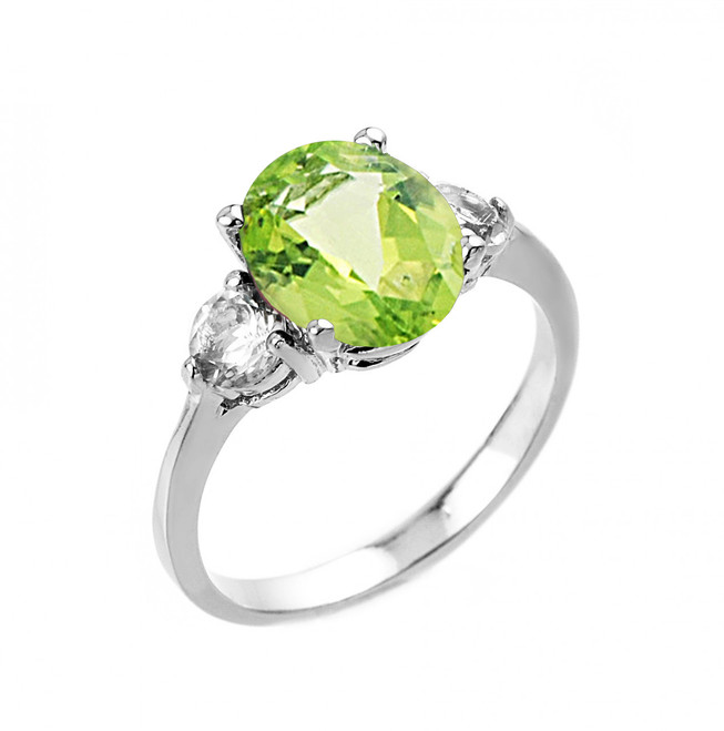 White Gold Genuine Peridot and White Topaz Gemstone Engagement Ring
