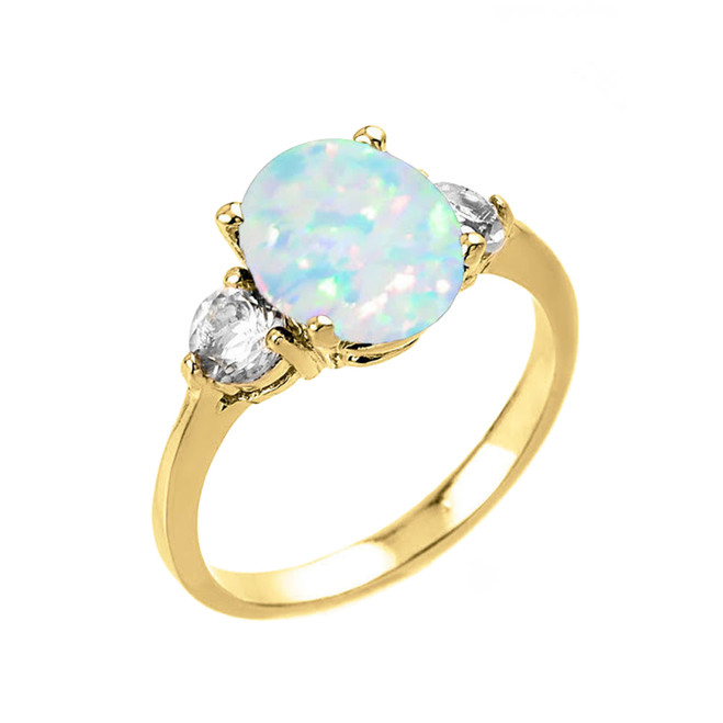 Yellow Gold Simulated Opal (LCO) and White Topaz Gemstone Engagement Ring