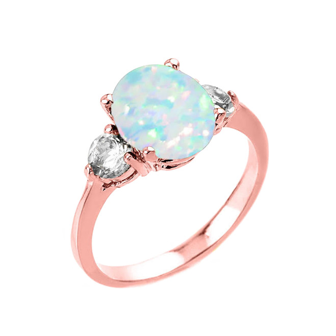 Rose Gold Simulated Opal (LCO) and White Topaz Gemstone Engagement Ring