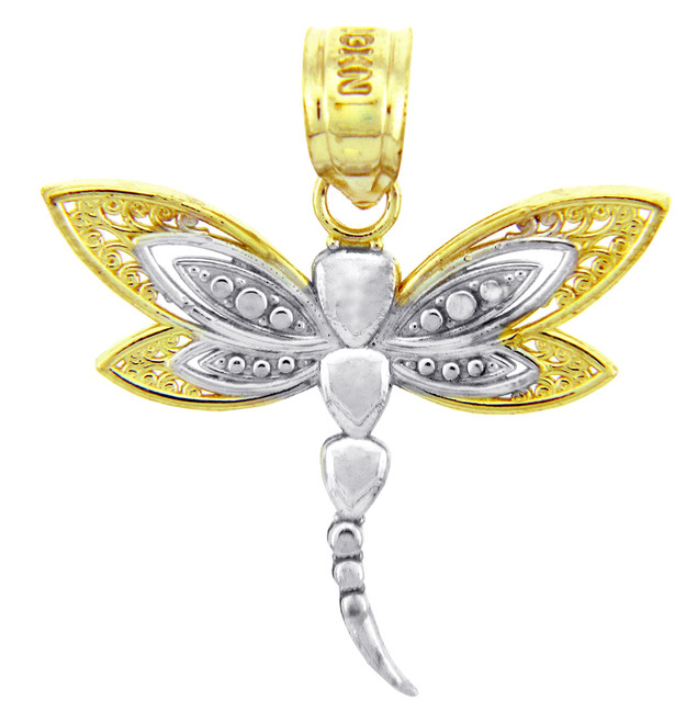 Two-Tone Gold Charms - Two Tone Gold Dragonfly Pendant