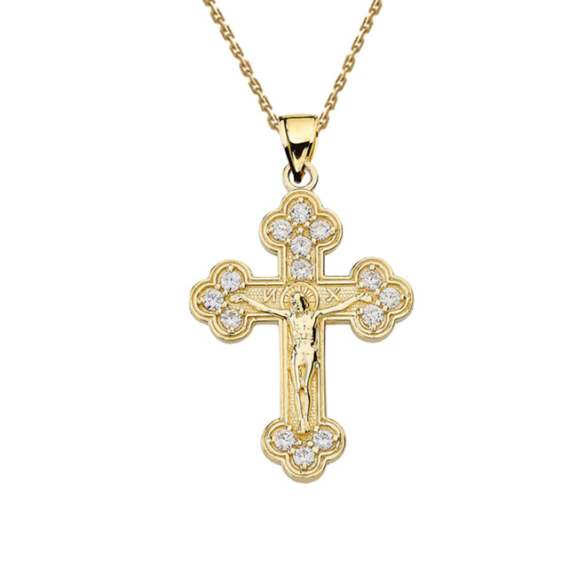Yellow Gold Eastern Orthodox Diamond Crucifix Pendant Necklace