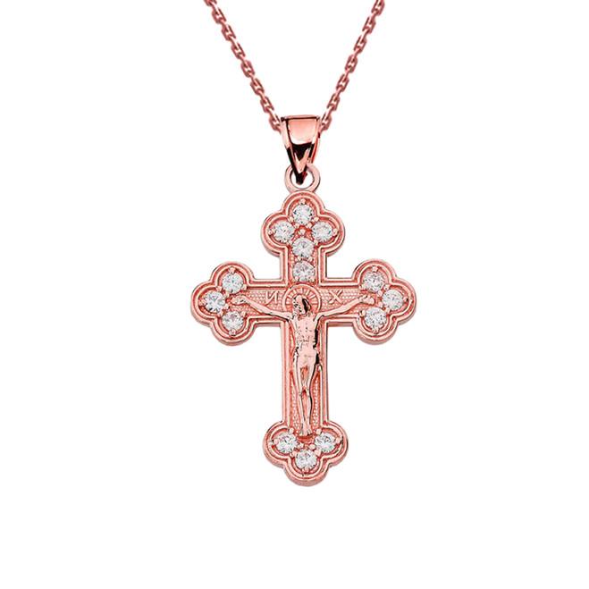 Rose Gold Eastern Orthodox Diamond Crucifix Pendant Necklace