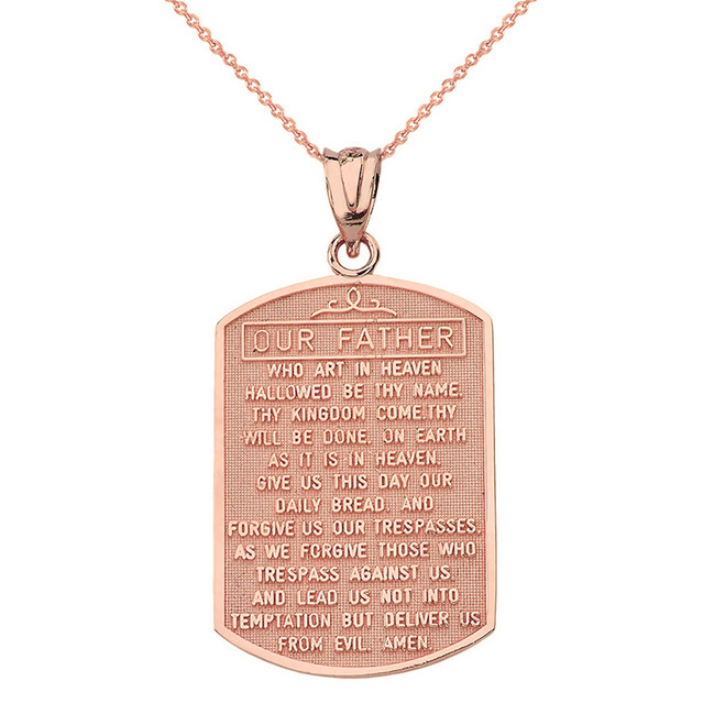 Solid Rose Gold Our Father Prayer Pendant Necklace