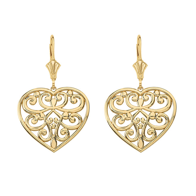 14K Solid Yellow Gold Filigree Heart Drop Earring Set