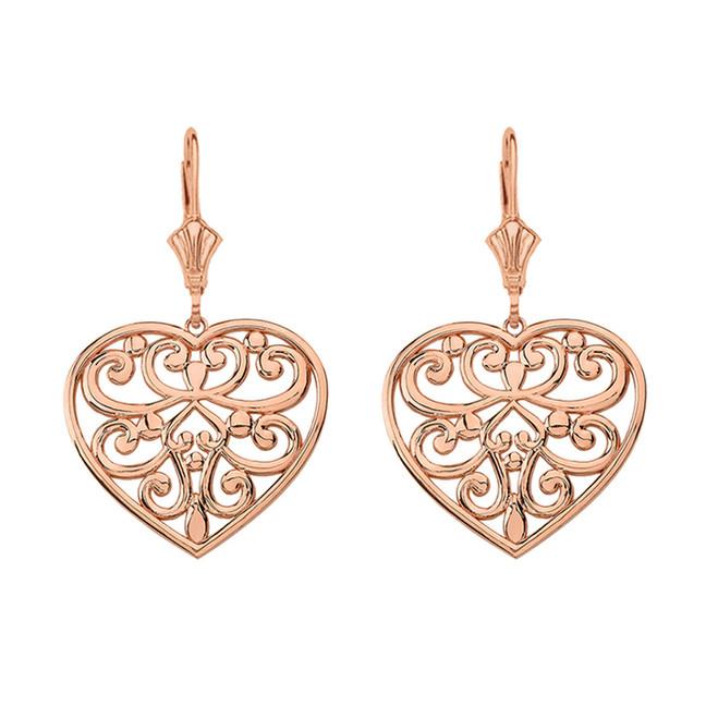 14K Solid Rose Gold Filigree Heart Drop Earring Set