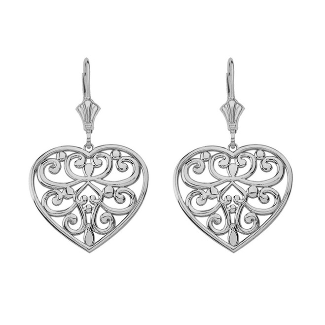 Sterling Silver Filigree Heart Drop Earring Set