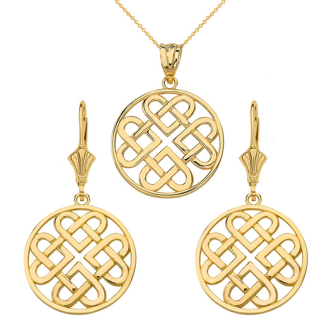 14k Solid Yellow Gold Woven Celtic Hearts Circle Necklace Earring Set