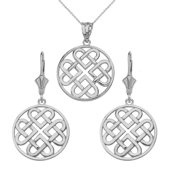 Sterling Silver Woven Celtic Hearts Circle Necklace Earring Set