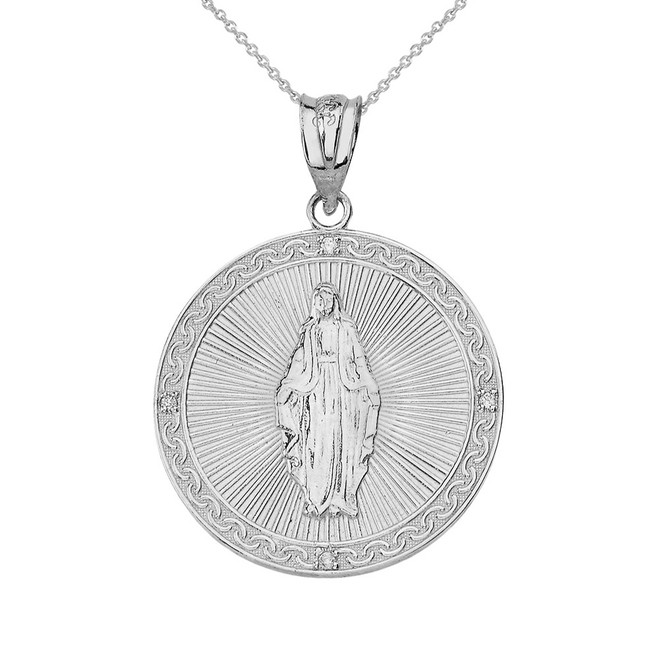Solid White Gold Mary Mother of Jesus Circle Medallion Diamond Pendant Necklace (Small)