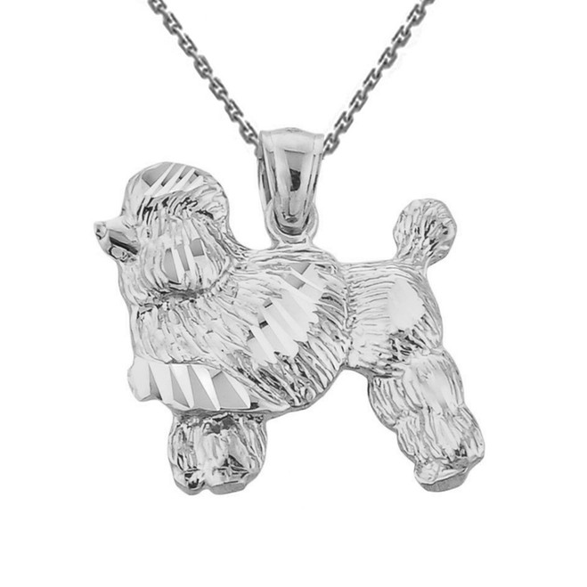 White Gold Diamond Cut Poodle Pendant