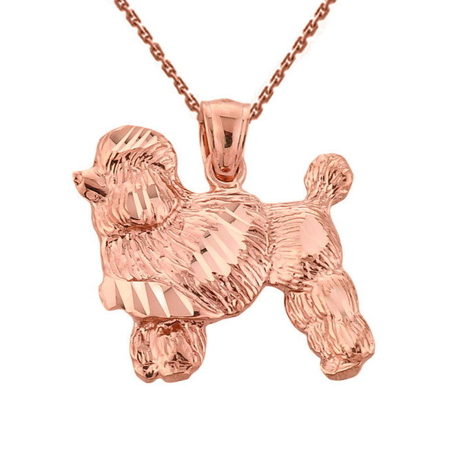 Rose Gold Diamond Cut Poodle Pendant