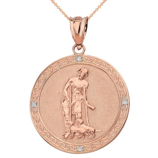 Solid Rose Gold Saint Lazarus Engravable Circle Medallion Diamond Pendant Necklace (Large)