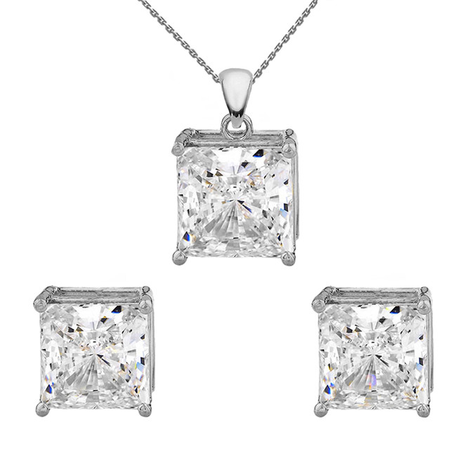 White Gold Elegant Princess Cut Necklace and Stud Earrings Set