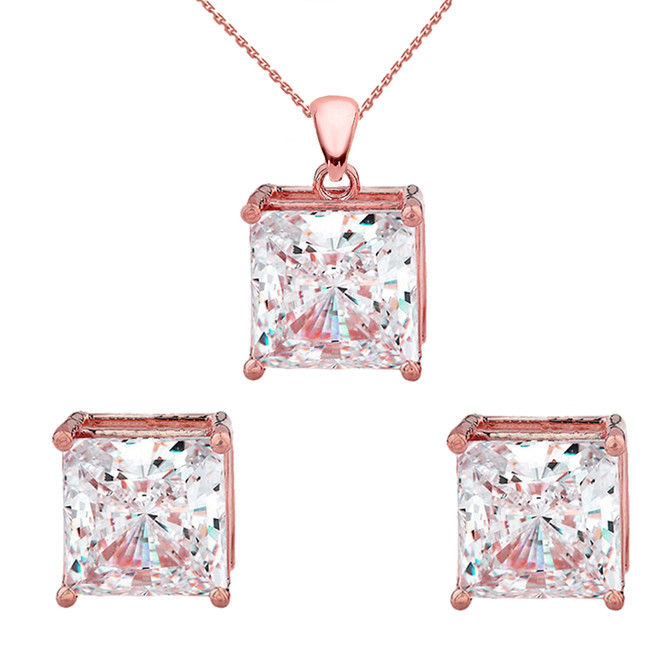 Rose 10K Gold Elegant Princess Cut Necklace and Stud Earrings Set
