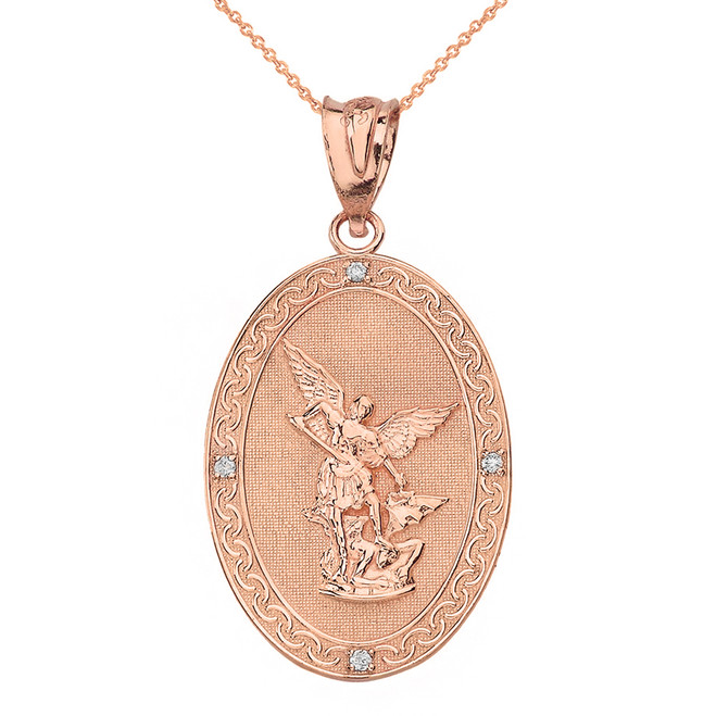 Solid Rose Gold Archangel Michael Oval Medallion Diamond Prayer Pendant Necklace (Large)