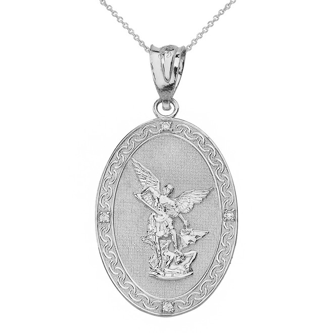 Solid White Gold Archangel Michael Oval Medallion Diamond Prayer Pendant Necklace (Large)