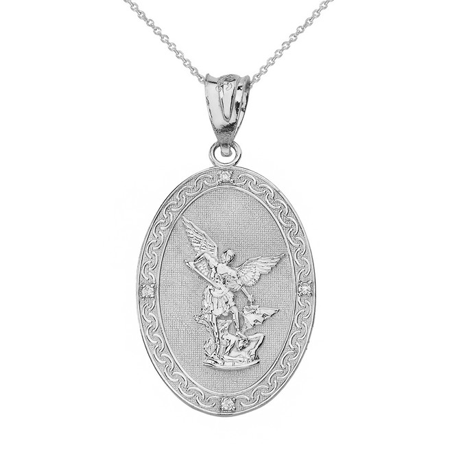 Sterling Silver Archangel Michael Oval Medallion CZ Prayer Pendant Necklace (Small)