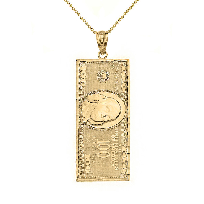 Solid Yellow Gold Benjamin Franklin United States American Hundred Dollar Bill  Pendant Necklace (Medium)