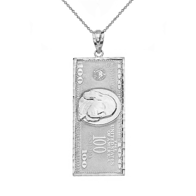 Solid White Gold Benjamin Franklin United States American Hundred Dollar Bill  Pendant Necklace (Medium)