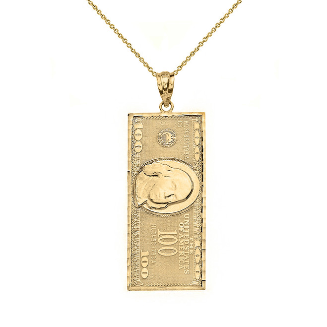 Solid Yellow Gold Benjamin Franklin United States American Hundred Dollar Bill  Pendant Necklace (Small)