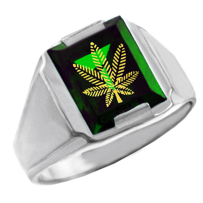 Solid White Gold Green CZ Stone Marijuana Signet Men's Ring