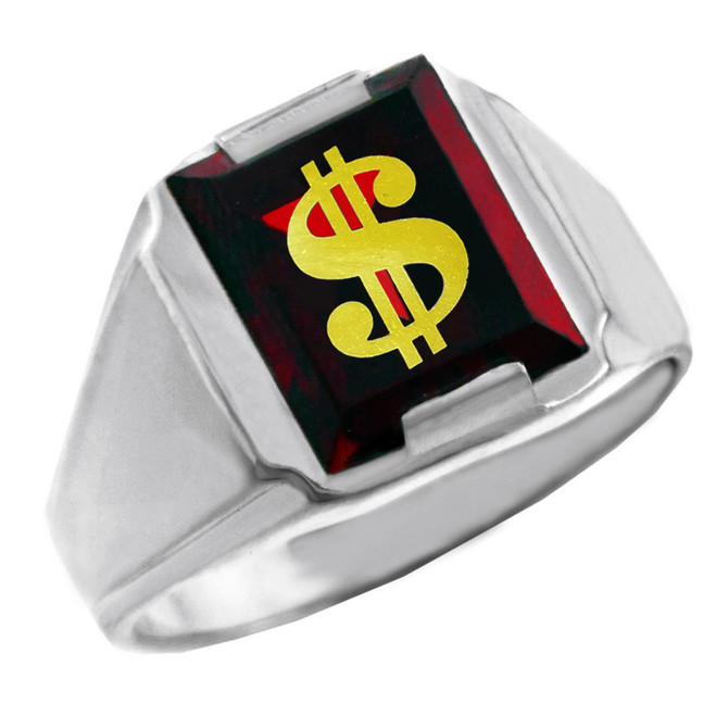 Solid White Gold Red CZ Stone Dollar Sign Signet Men's Ring