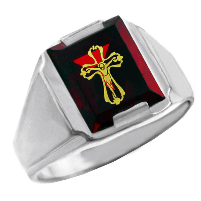 Sterling Silver Red CZ Stone Crucifix Signet Men's Ring