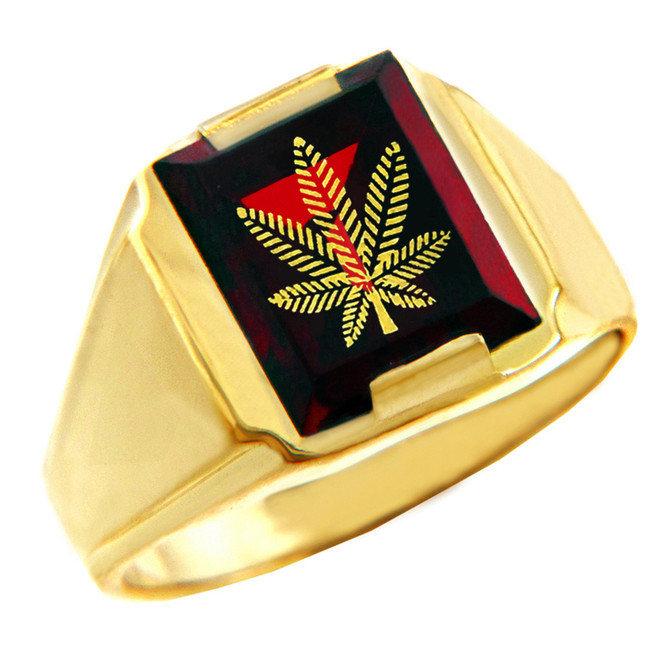 Solid Yellow Gold Red CZ Stone Marijuana Signet Men's Ring