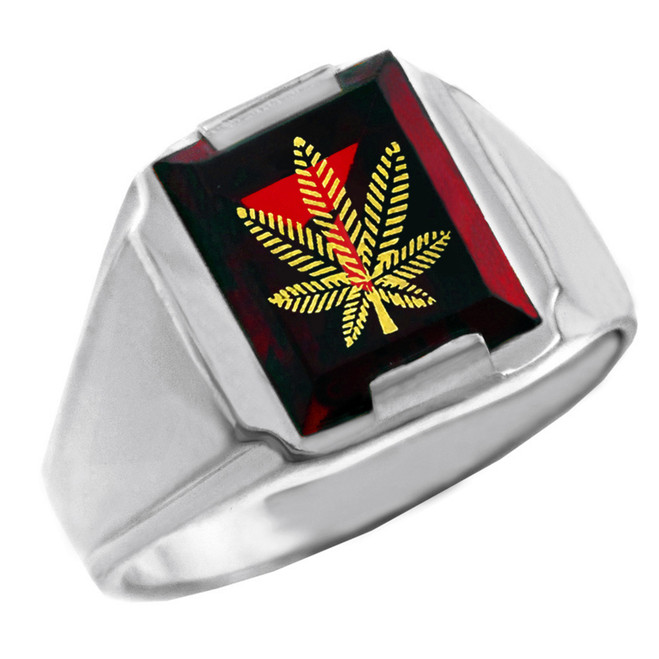 Sterling Silver Red CZ Stone Marijuana Signet Men's Ring