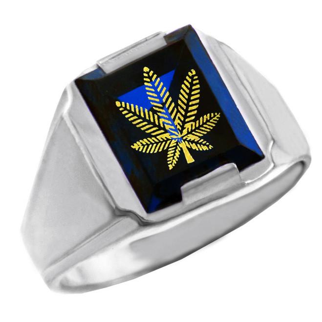 Solid White Gold Blue CZ Stone Marijuana Signet Men's Ring