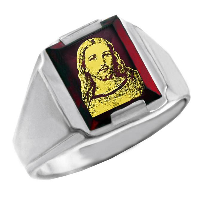 Sterling Silver Red CZ Stone Jesus Christ Signet Men's Ring