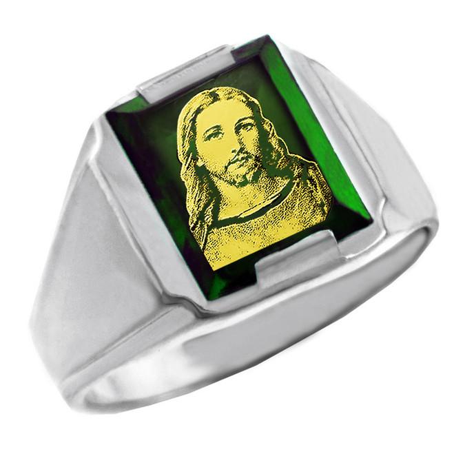 Solid White Gold Green CZ Stone Jesus Christ Signet Men's Ring