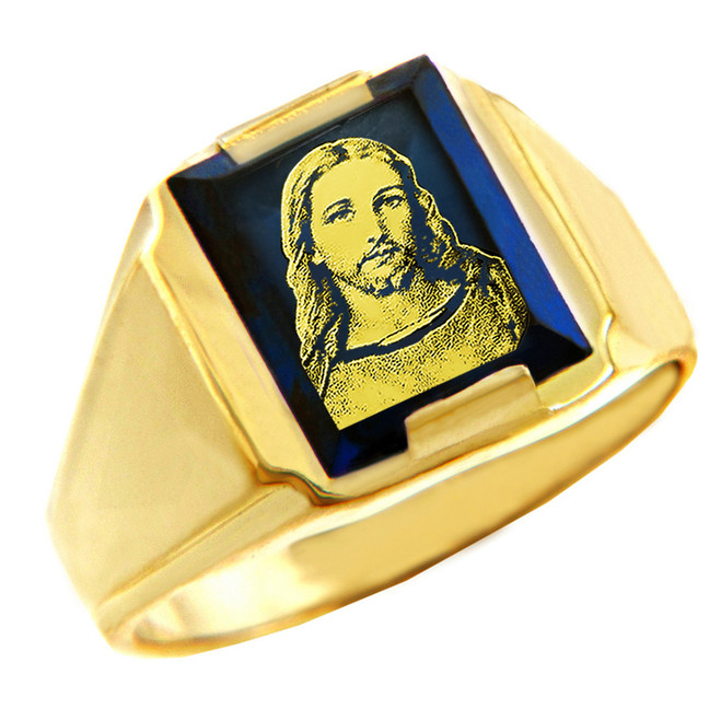 Solid Yellow Gold Blue CZ Stone Jesus Christ Signet Men's Ring