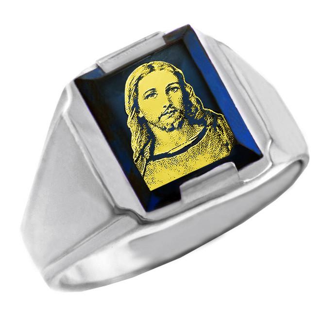 Sterling Silver Blue CZ Stone Jesus Christ Signet Men's Ring