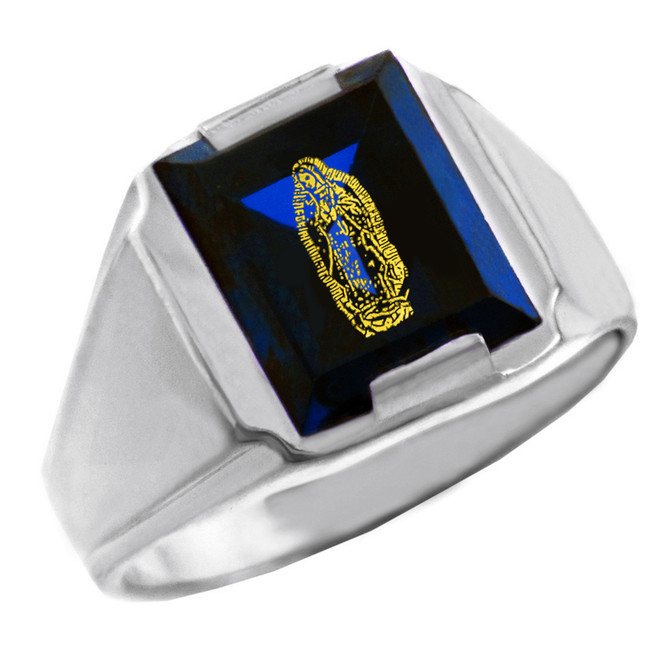 Solid White Gold Blue CZ Stone Our Lady of Guadalupe Signet Men's Ring