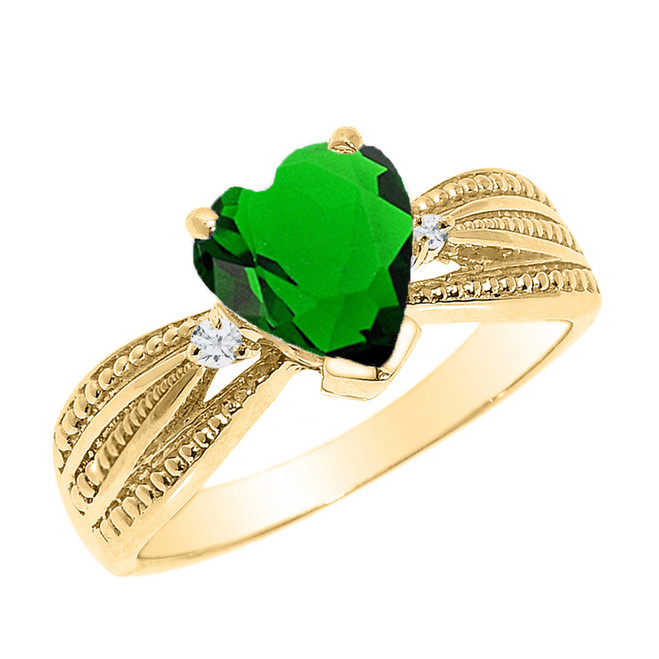 Beautiful Yellow Gold Emerald (LCE) and Diamond Proposal Ring