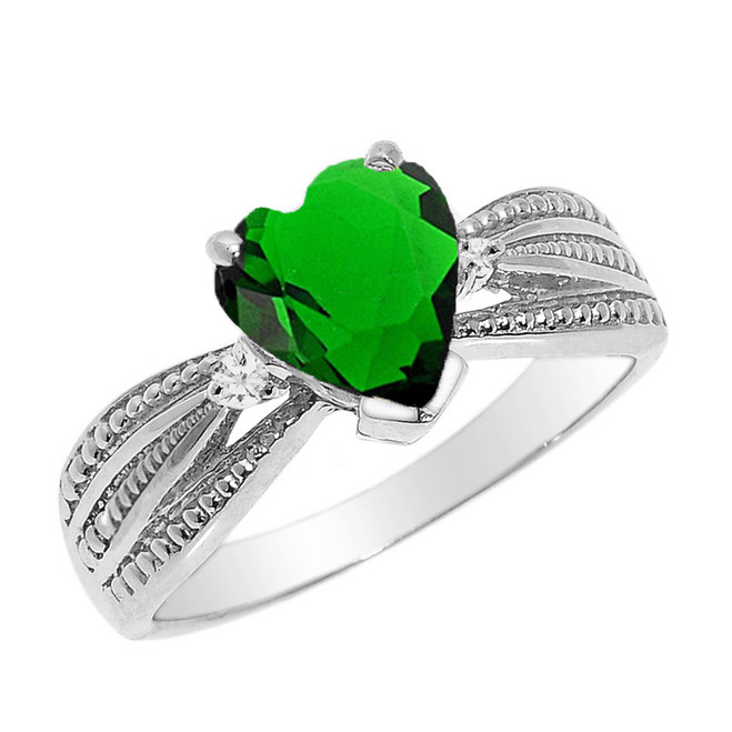 Beautiful White Gold Emerald (LCE) and Diamond Proposal Ring